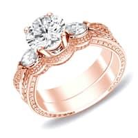 Auriya 14k Rose Gold 4/5ct TDW Certified Diamond 3-stone Wheat Carved Bridal Ring Set