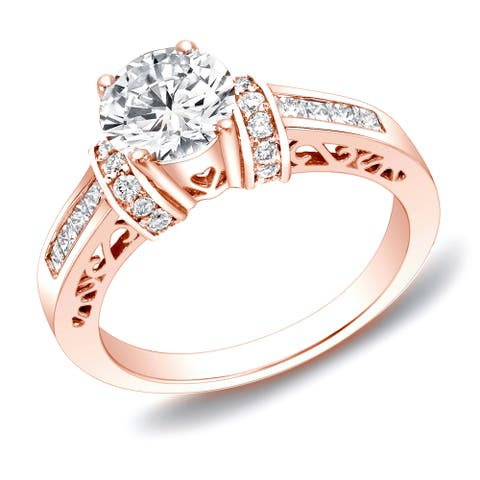 Auriya 14k Rose Gold 1 1/4ctw Round Diamond Engagement Ring with Hearts