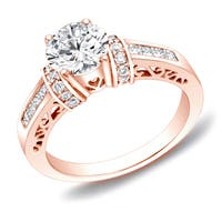 14k Rose Gold 1 1/4 ct TDW Round Diamond Engagement Ring with Heart Cut-Out by Auriya