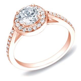 Auriya 14k Rose Gold 1ct TDW Certified Round Diamond Engagement Ring
