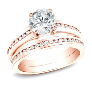 Auriya 14k Rose Gold 2ct TDW Certified Diamond Bridal Ring Set (H-I, SI1-SI2)