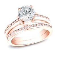 14k Rose Gold 2ct TDW Round Channel-Set Diamond Engagement Ring Set by Auriya