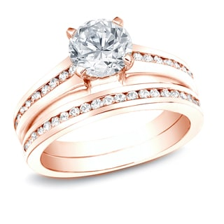 Auriya 14k Rose Gold 1 1/2ct TDW Certified Diamond Bridal Ring Set