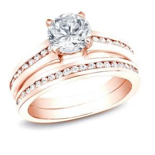 Auriya 14k Rose Gold 1 1/2ct TDW Certified Diamond Bridal Ring Set (H-I, SI1-SI2)