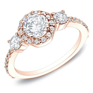 Auriya 14k Rose Gold 3/4ct TDW 3-Stone  Diamond Halo Engagement Ring