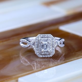 14k Rose Gold 4/5ct TDW Emerald-Cut Double Halo Diamond Engagement Ring