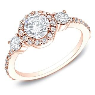 Auriya 14k Rose Gold 1 1/4ct TDW Round Diamond Engagement Ring