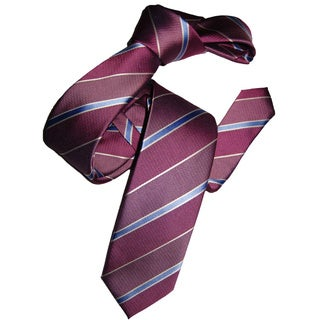Dmitry Men's Italian Pink Silk Striped Skinny Tie