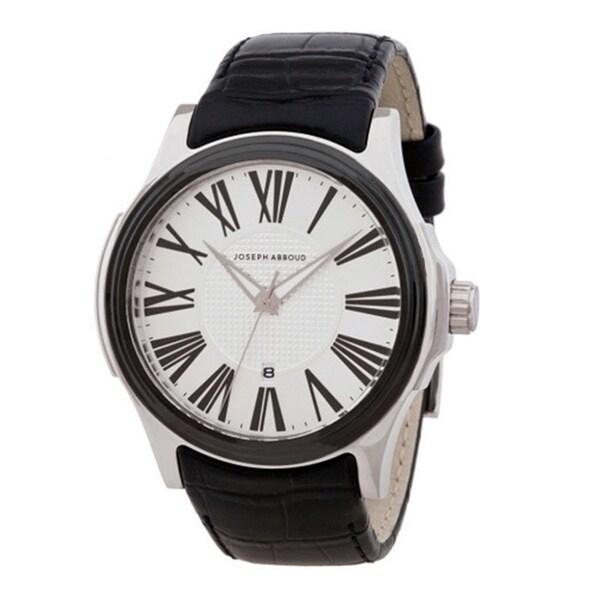 Joseph Abboud Men's Silvertone and Black Leather Roman Numeral Watch