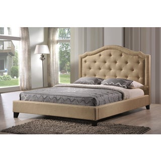 LuXeo Brentwood Tufted Upholstered Contemporary Platform Bed in Beige Fabric