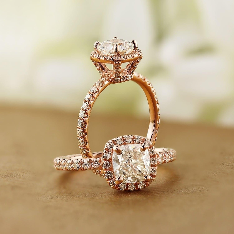 Shop Auriya 14k Rose Gold 1 1 2ctw Cushion Cut Halo Diamond Engagement Ring Overstock 9229639