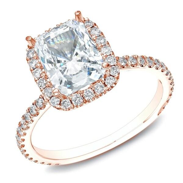 Auriya 14k Rose Gold 1 1/2ct TDW Certified Cushion-Cut Diamond Halo Engagement Ring