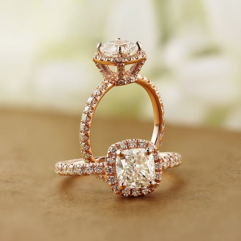 Auriya 14k Rose Gold 1 1/2ct TDW Certified Cushion-Cut Halo Diamond Engagement Ring