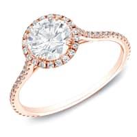 14k Rose Gold Certified 1 1/2ct TDW Round Diamond Halo Engagement Ring by Auriya