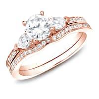 Auriya 14k Rose Gold 1ct TDW Certified 3-Stone Diamond Engagement Ring Bridal Set