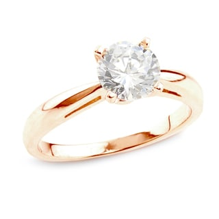 Auriya 14k Rose Gold 3/4ct TDW Certified Round Diamond Solitaire Ring (H-I, SI1-SI2)