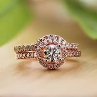 Auriya 14k Rose Gold 1ct TDW Diamond Halo Engagement Ring Bridal Set