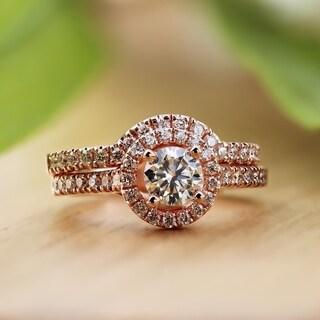 Auriya 14k Rose Gold 1ct TDW Diamond Halo Engagement Ring Bridal Set (Option: 4)