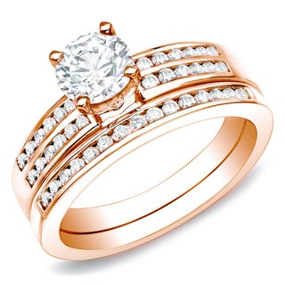 Auriya 14k Rose Gold 1ct TDW Certified Diamond Bridal Ring Set (H-I, SI1-SI2)