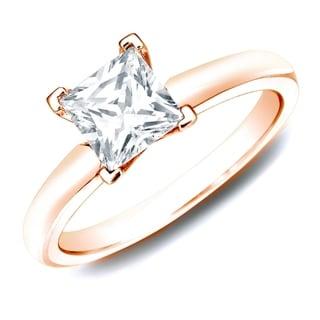 Auriya 14k Rose Gold 1ct TDW Certified Princess Diamond Solitaire Ring (H-I, SI1-SI2)