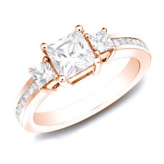 Auriya 14k Rose Gold 1.50ct TDW Certified Princess-Cut 3-Stone Diamond Engagement Ring