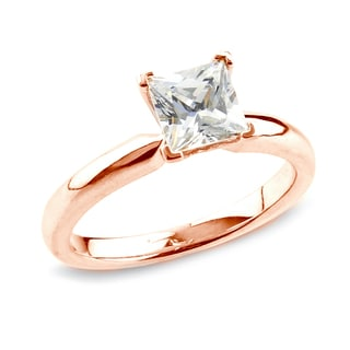 Auriya 14k Rose Gold 3/4ct TDW Certified Princess Diamond Solitaire Ring