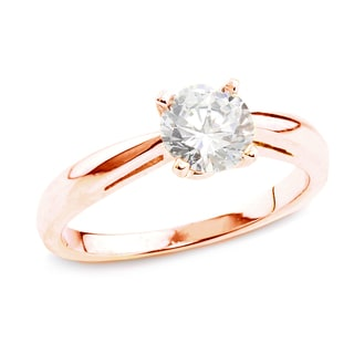 Auriya 14k Rose Gold 1/2ct TDW Certified Round Diamond Solitaire Ring