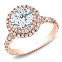 14k Rose Gold Round 2ct TDW Double Halo Diamond Engagement Ring by Auriya