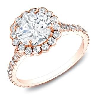 Auriya 14k Rose Gold 1 1/2ct TDW Certified Round Halo Diamond Engagement Ring (H-I, SI1-SI2)