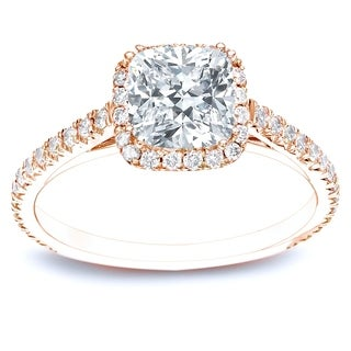Auriya 14k Rose Gold 1 1/2ct TDW Certified Cushion Diamond Halo Engagement Ring (H-I, SI1-SI2)
