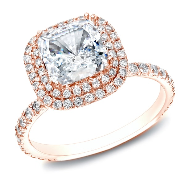 Auriya 14k Rose Gold 1 3 4ct TDW Certified Diamond Double Halo Engagement Rin