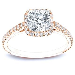 Auriya 14k Rose Gold 1 1/2ct TDW Certified Cushion Diamond Halo Engagement Ring