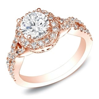 Auriya 14k Rose Gold 1ct TDW Certified Round Cut Diamond Engagement Ring