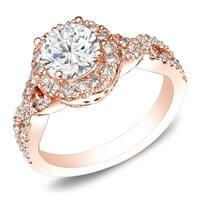 Auriya Braided Twist 1ct TDW Round Diamond Halo Engagement Ring 14k Rose Gold