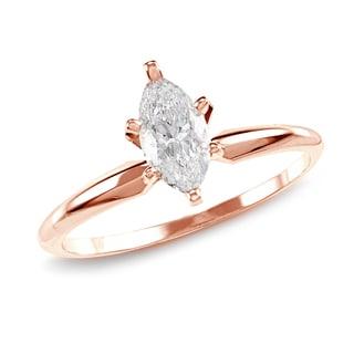 Auriya 14k Rose Gold 1ct TDW Marquise 6-prong Diamond Ring (H-I, SI1-SI2)