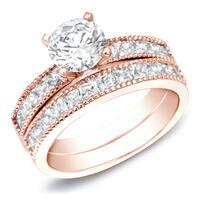 Auriya 14k Rose Gold Certified 2ct TDW Vintage Inspired Round Diamond Engagement Ring Set