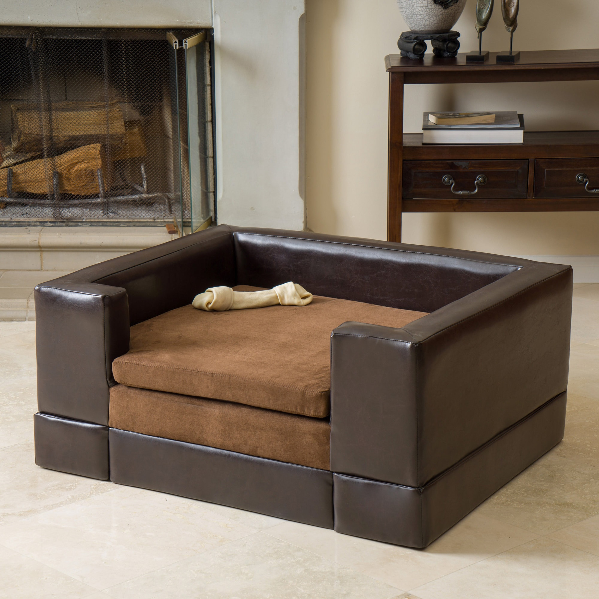 New Doggerville Brown Faux Leather Fabric Wood Large Rectangular