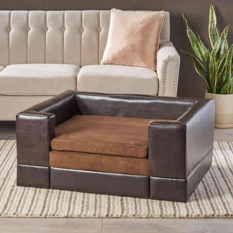 Christopher Knight Home Doggerville Brown Faux-leather/Fabric/Wood Large Rectangular Cushy Dog Sofa