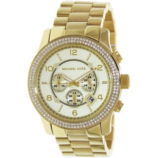 Michael Kors Women's Runway MK5575 Gold Stainless-Steel Quartz Watch with Gold Dial