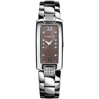 Raymond Weil Women's 1500-ST3-00775 'Shine' Brown Diamond Dial Stainless Steel Diamond Quartz Watch