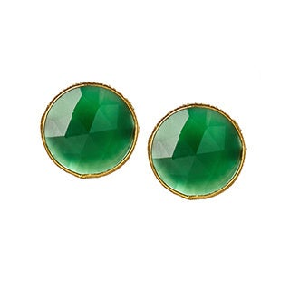Handmade Saachi 18k Gold Clad Faceted Stud Gemstone Earrings (India)