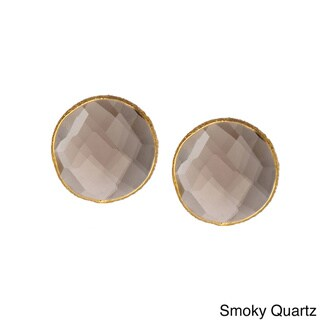 Saachi 18k Gold Clad Faceted Stud Gemstone Earrings (India)