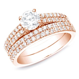 Auriya 14k Rose Gold 1.50ct TDW Certified Diamond Bridal Set