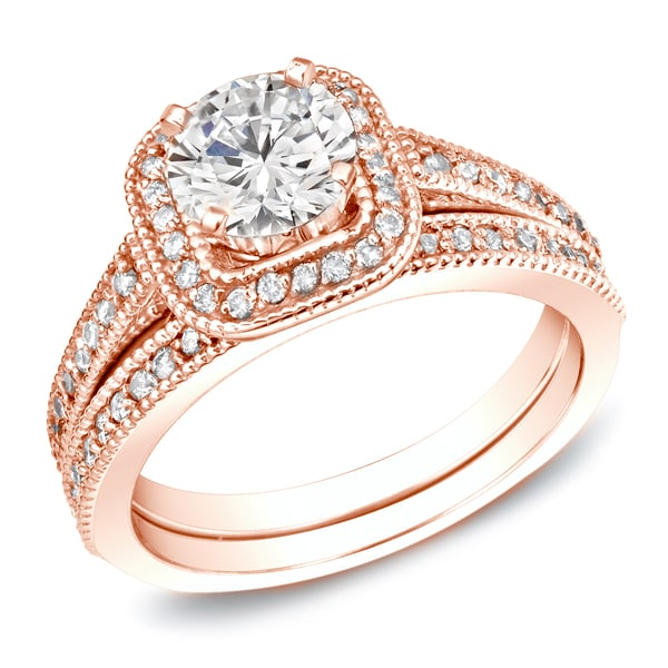 Auriya 14k Rose Gold 1ct TDW Certified Round-cut Diamond Bridal Ring Set
