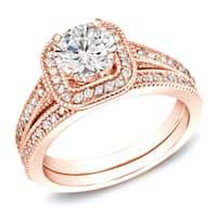 Auriya 14k Rose Gold 1ct TDW Vintage Inspired Certified Round Diamond Halo Engagement Ring Set