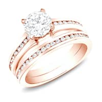 Auriya 14k Rose Gold 1ct TDW Certified Round Diamond Engagement Ring Set