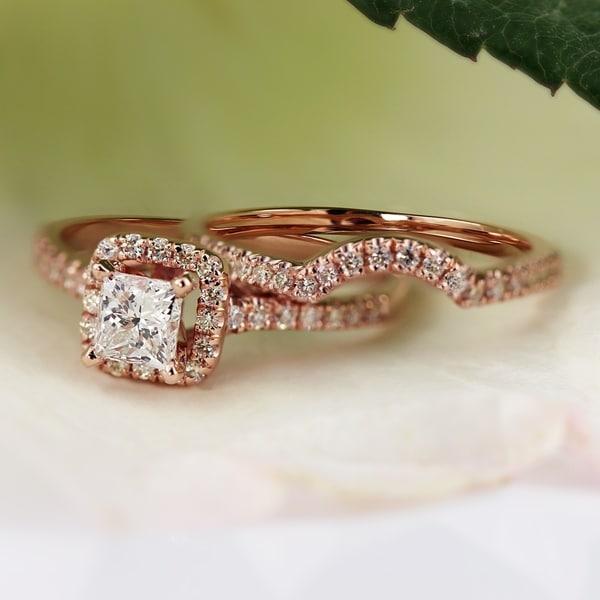 Auriya 14k Rose Gold 1 1/5ct TDW Princess-cut Halo Diamond Engagement Ring Set