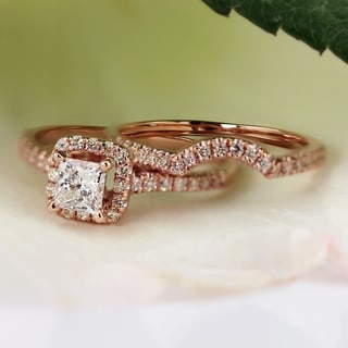 Auriya 14k RoseGold 1 1/5ct TDW Princess-Cut Diamond Halo Engagement Wedding Ring Set