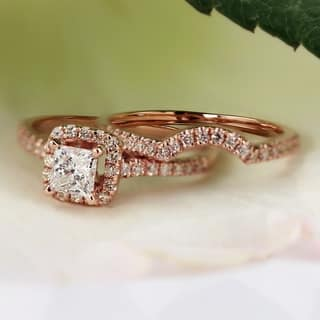 auriya 14k rose gold 1 15ct tdw princess cut diamond halo engagement ring - Princess Cut Wedding Ring