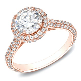 Auriya 14k Rose Gold Certified 2ct TDW Diamond Halo Engagement Ring